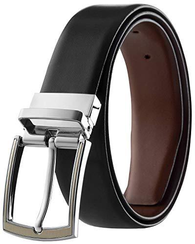 Men's Leather Reversible Belt Top Grain Italian Leather Classic Finish Black & Tan Size 38