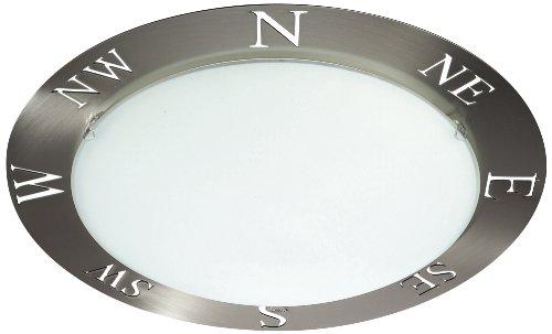 Massive 300091710 Deckenleuchte im Kompass-Design, gebürsteter Edelstahl, mattes Chrom, 60 W, E 27