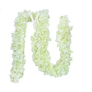 Lannu 33 FT Artificial Hydrangea Vines Flowes Fake Wisteria Garland Flower Cattleya Plants for Home Wedding Arch Garden Wall Decor, Pack of 5, (Cream)