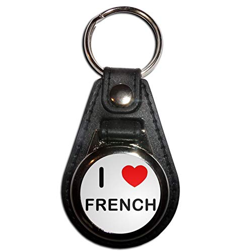 BadgeBeast.co.uk I Love French - Portachiavi con medaglione in plastica nera