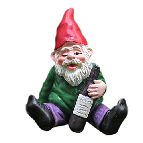 Mini nano gnomo statua ornamentale da giardino in resina fata micro paesaggio elfo per giardino all'aperto miglior regalo (C)