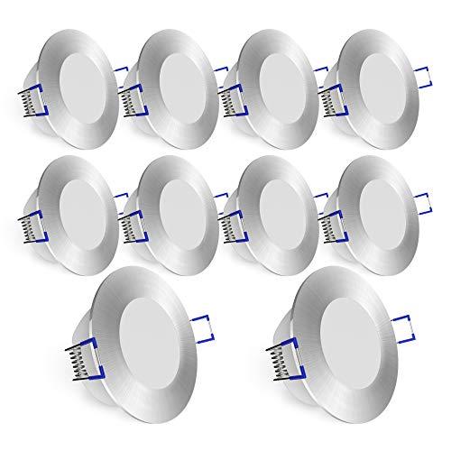 linovum WEEVO IP44 LED Einbauleuchten 10er Set extra flach - 5W warmweiß - 230V Deckenspot Bad Außenbereich silber gebürstet