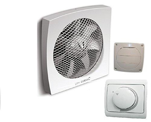 Einbauset LHV-190 Wand Fenster Ventilator Lüfter Drehzahlregler/Dimmer + Verschlussklappe/Hochwertiger Leistung / 700 m³/h / 190 mm