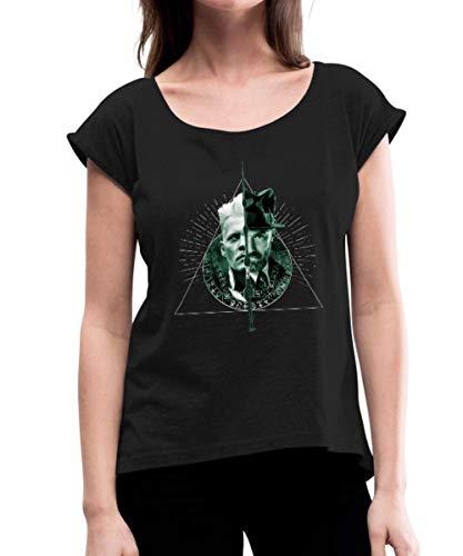 Phantastische Tierwesen Grindelwald und Dumbledore Frauen T-Shirt mit gerollten Ärmeln, XL, Schwarz