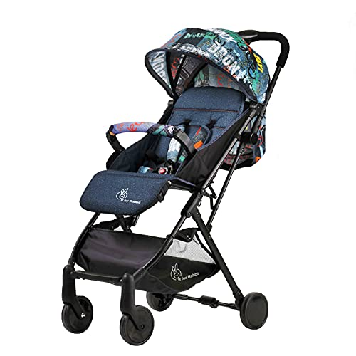 R for Rabbit Pocket Stroller Lite Baby Stroller | Travel Friendly Pre Installed Baby Stroller and Pram for Baby/Kids/Infants/Newborn | Stroller for Baby Boys & Girls of Age 0 to 3 Years (Grey)