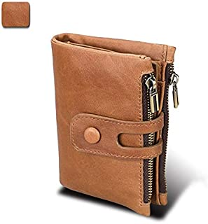 Men's Wallet Leather Wallet Anti-RFID Stolen Brush Fashion Casual Short Double Zipper Large Capacity Wallet (Color : Brown, Size : S)