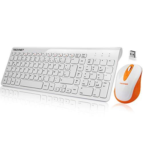 TECKNET Wireless Tastatur Maus Set, QWERTZ Ultra Dünne 2.4GHz Kabellos Tastatur (Deutsches Layout) und Maus für Laptop PC Tablet und Smart TV