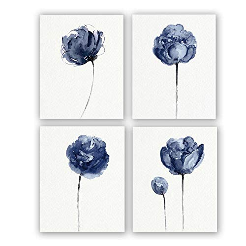 """Set of 4 Blue Flickering Floral Peony Modern Picture Wall Art Print,Watercolor Poster with Abstract of Blue Peony, Wall Art Canvas for Living Room Home Decor,Gift.(Unframed,8""""X10""""inches)."""