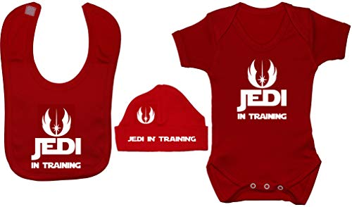 Acce Products I Am a Jedi Like My Father Before Me Body Body Body pour bébé Barboteuse et bonnet 0 à 12 mois - Rouge - XXXS