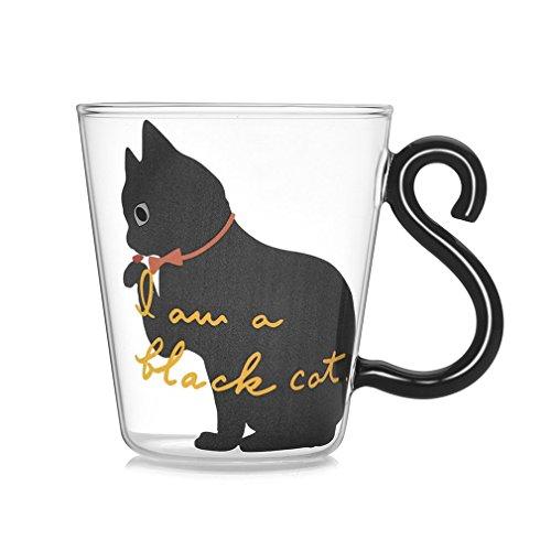 YKSO Niedliche Kitty-Glas-Trinktasse mit Katzenschwanz-Griff, für Milch, Tee, Kaffee, Obst, Saft, Trinkgeschirr, Zuhause, Büro, Tasse, Liebhaber, Geschenke
