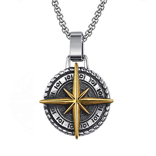 Stainless Steel Vintage Navigation Compass Cross Pendant Necklace Gold Adventure Courage Necklaces Jewellery Gift For Him 60cm