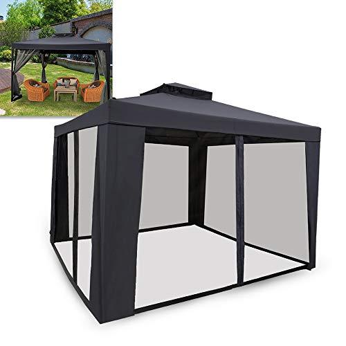 UISEBRT Carpa 3 x 3 m resistente al agua – Carpa de jardín con 4 laterales para camping, jardín, fiesta, boda, picnic, Color gris oscuro.