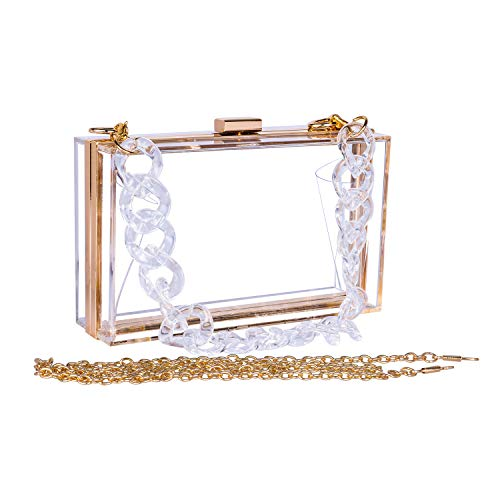 WEDDINGHELPER Women Crossbody Shoulder Bag Evening Clutch Purse Acrylic Clear Jelly Box with 2 Removable Chain Purse(White)
