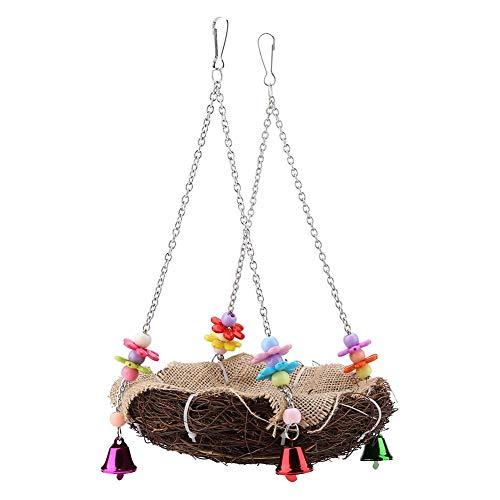 Garosa Rattan Vögel Nest Schaukel Spielzeug Papagei Klettern Kauen Spielzeug Bunte Vögel Käfige Stangen Hängen Papageien Stroh Spielzeug mit Glocken(L)
