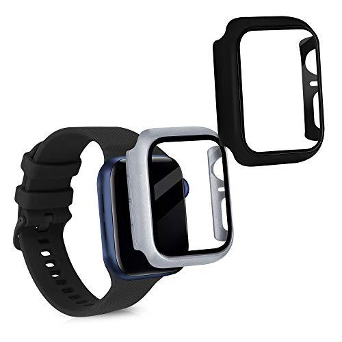 kwmobile Set 2X Proteggi Schermo Compatibile con Apple Watch 6 (44mm) - Copertura Vetro Display Touch Screen in Silicone Nero Argento