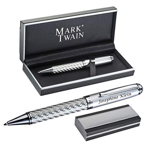 MARK®TWAIN Drehkugelschreiber aus Metall mit Gravur - silbernes Carbondesign Blaue Mine - in Geschenketui Carbonoptik zum Geburtstag 17841
