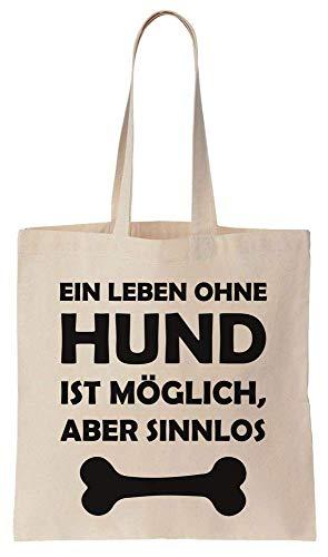Finest Prints Ein Leben Ohne Hund Ist Möglich, Aber Sinnlos. Knochen Design Cotton Canvas Tote Bag