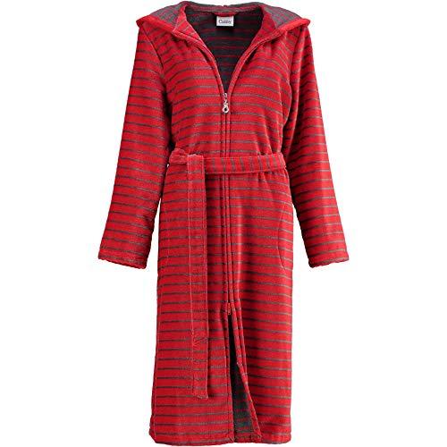 Michaelax-Fashion-Trade Cawö - Damen Bademantel mit Kapuze und Reißverschluss, rot (1492), Größe:40, Farbe:Rot (27)