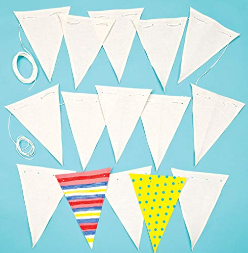 Baker Ross Banderines de tela con cinta que los niños pueden pintar y decorar. Manualidades creativas perfectas para fiestas infantiles (por pack).