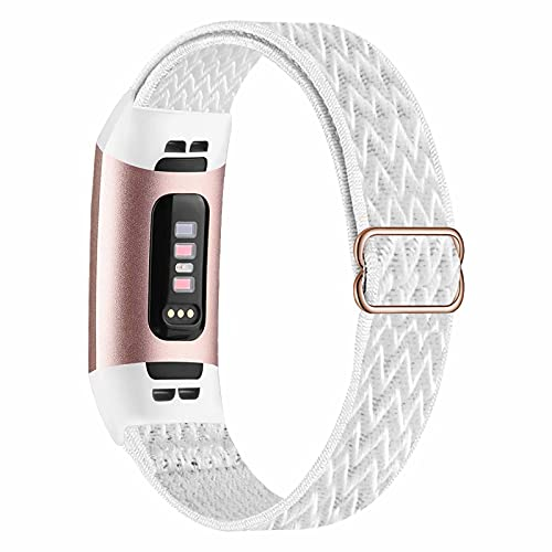 Fengyiyuda Elástico Nylon Correa de Reloj Compatible con Correa Fitbit Charge 3/4,Bandas para Relojes Inteligentes,Hebillas Ajustables,correas de repuesto para Fitbit Charge 3/4,White