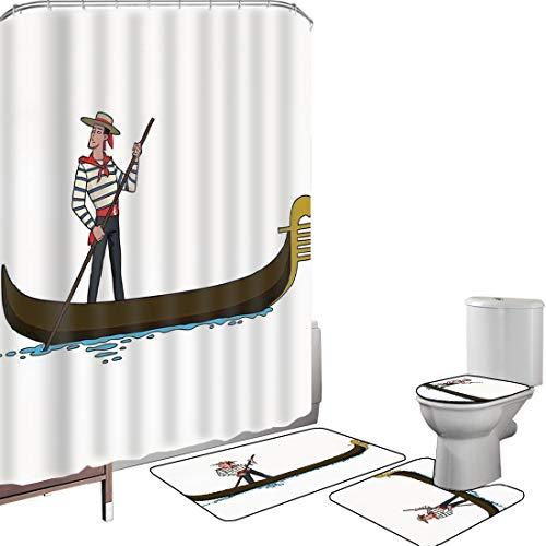Set di tende per doccia Accessori il bagno tappeti cartone animato Tappetino da bagno con tappetino per WC Illustrazione della gondola nella decorazione romantica italiana di simbolo europeo di amore