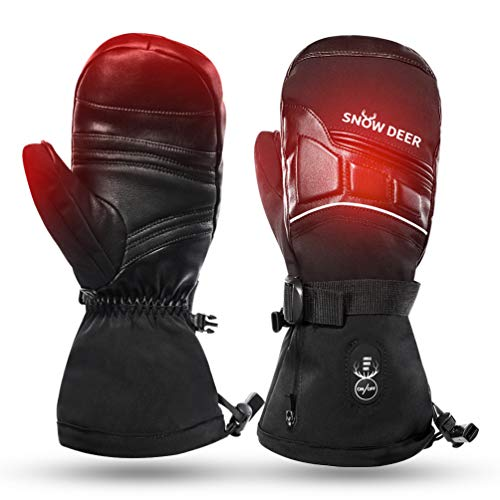 SNOW DEER Heated Mittens for Men and Women Waterproof Ski Gloves with Touchscreen 7.4V 2200mAh Battery Gloves Electric Rechargeable Thermal Mittens for Hands Warm