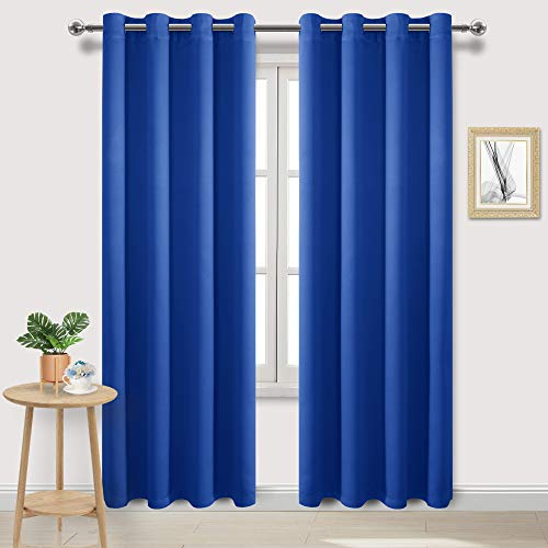 DWCN Blackout Curtains Room Darkening Thermal Insulated Bedroom Curtains Window Curtain Panels, 52 x 84 inches Long, Set of 2 Royal Blue Grommet Drapes