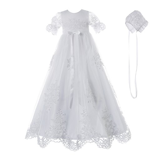 NIMBLE Baby Girls Baptism Delicate Embroideried Gown with Bonnet for 0-12 Months White
