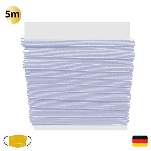 GD Gummiband für Mundschutz zum Selber Nähen I 5 Meter Premium Gummikordel für Mundbedeckungen I Weißes Gummizugband (5 mm) (Weiss, 5m)