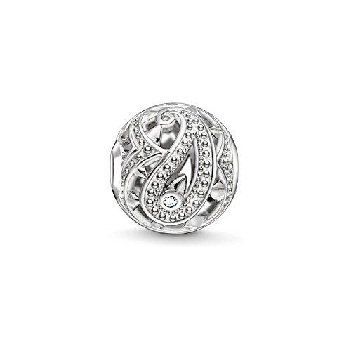 Thomas Sabo Damen-Bead Paisley Karma Beads 925 Sterling Silber geschwärzt Zirkonia weiß K0216-643-14