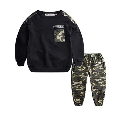 New Boys 2 Pieces Set Teen Kids Letter Tracksuit Camouflage Tops+ Pants Outfits Set