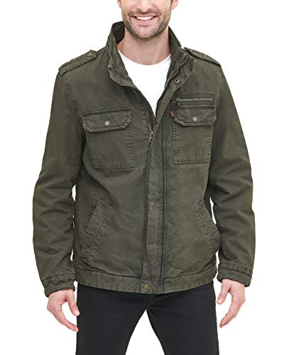 Levi's Men's Washed Cotton Military Jacket, Olive, Large