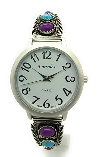 Ladies Western Turquoise and Purple Stones Stretch Elastic Band Fashion Watch Versales Varsales