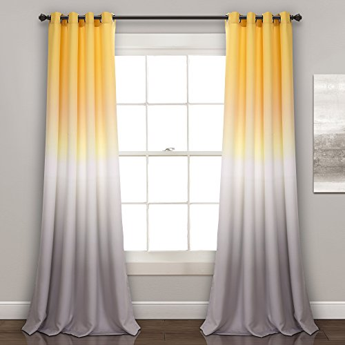 """Lush Decor Ombre Fiesta Curtains Room Darkening Window Panel Set for Living, Dining, Bedroom (Pair), 84"""" x 52"""", Yellow and Gray"""
