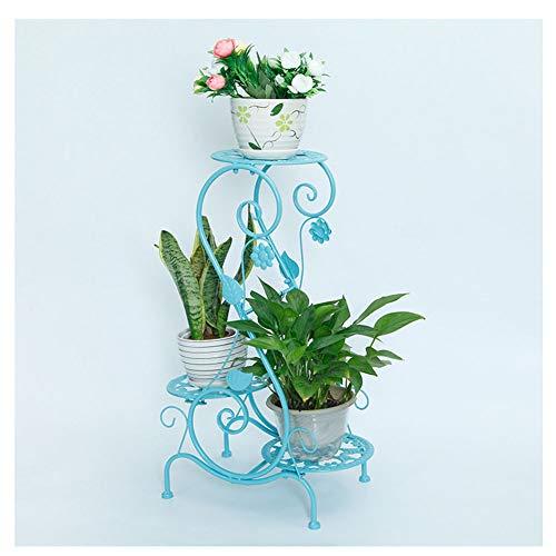 GuoCu Soporte metálico para Hierbas y Flores Estantería para Macetas con 3 Niveles Estantería Decorativa de Flores para Exterior Interior Jardín Azul Estilo A Un tamaño