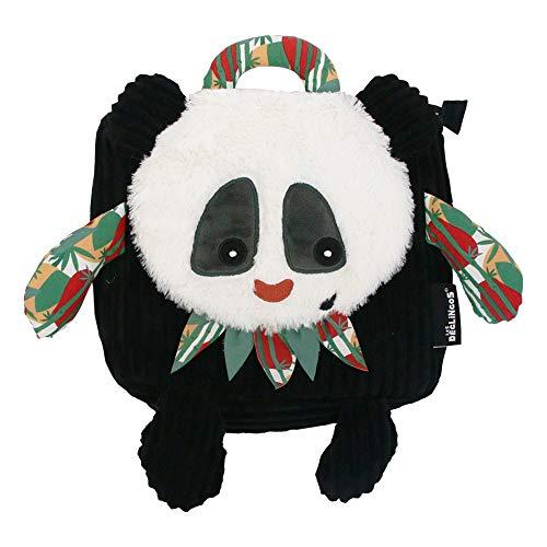 LES DÉGLINGOS Sac à Dos Enfant Velours (Rototos le Panda) - Bébé Enfant Crèche Maternelle - Tissu Doux - Cadeaux Enfants - Dès 18 mois - Rembourrage Recyclé