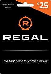 Give the gift of movies! Regal gift cards are good towards admissions and concessions. Regal Entertainment Group is the largest motion picture exhibitor in the world and includes all Regal Cinemas, Edwards Theatres and United Artists Theatres. Regal ...