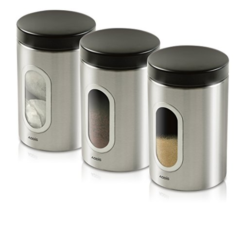 Addis 508453 Deluxe 3 Pack Canisters-Stainless Steel, 1.4L