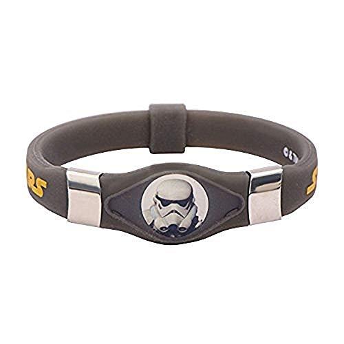 Acero inoxidable Star Wars Rebels Stormtrooper pulsera de silicona negra Glow