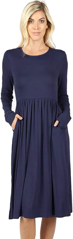 12 Ami Flowy Basic Long Sleeve Pocket Swing Midi Dress