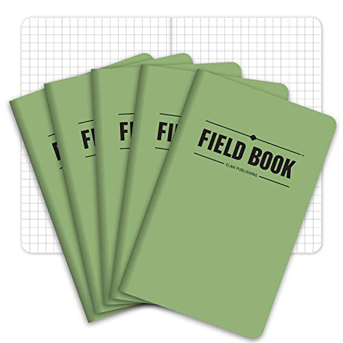 Field Notebook/Pocket Journal - 3.5'x5.5' - Green - Graph Memo Book - Pack of 5