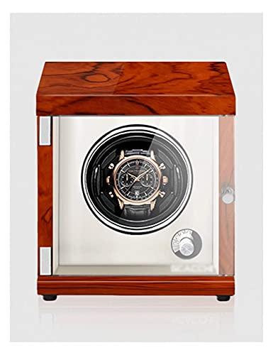 Enrollador de reloj para un solo reloj, pintura de piano, antimagnético, ultra silencioso, agitador de reloj con bobinado vertical, luz LED de inducción (Color: grano de palisandro + marrón, tamaño: