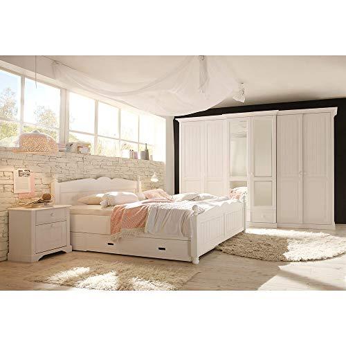 Lomadox Landhaus Schlafzimmer Set, aus Massivholz, weiß lackiert, mit Doppelbett 180cm und Kleiderschrank 6-türig