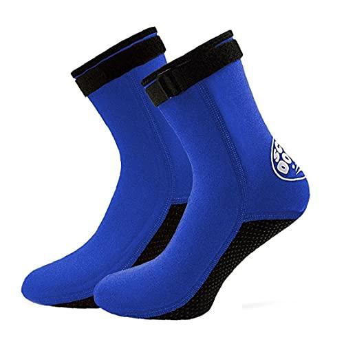 NIDONE Calcetines Botas De Buceo Surf Nado 3 Mm De Neopreno Antideslizante Aletas Calcetines para Hombres Mujeres Buceo Snorkel Deporte Acuático Blue M 1 Par