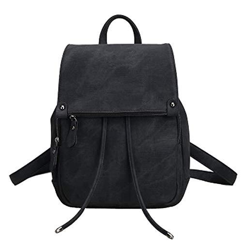 Damen Rucksack Klein Schultaschen Umhängetasche Handtasche wasserdichte Vintage Schulrucksäcke Casual Daypack PU Leder Rucksäcke Reise Backpack(Damen Rucksack Schwarz)
