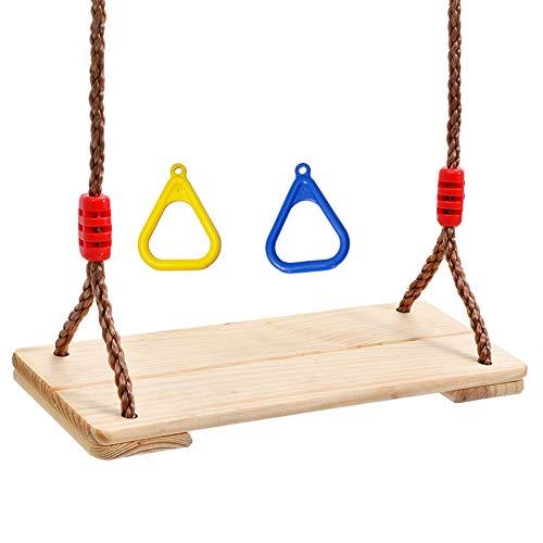 XWEM Juguete De Swing De Niños, Bebé Y Niño De Juguete De Juguete Colgado De Madera Colgando para Niños Niños Adultos Interior Tablero De Oscilación Al Aire Libre con Anillos De Mango