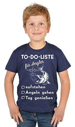 Angler Kinder-Shirt - lustige Sprüche/Motive Angeln für Kinder : to-Do-Liste für Angler aufstehen - Bekleidung Kinder Angeln/Angel-Sport Gr: L = 146-152