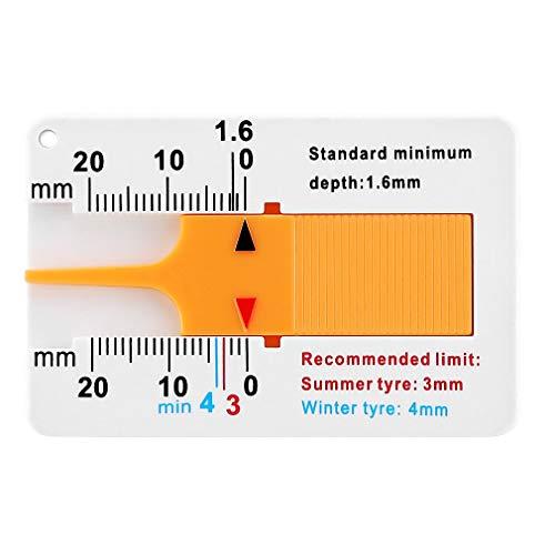 ASFD Medidor de Profundidad de la Banda de Rodadura del neumático, Utilizado para remolques de automóviles, Motocicletas, caravanas, remolques, Ruedas, autopartes (Blanco + Amarillo)