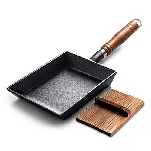XinLuMing Tamagoyaki Omelette Pan Mini Frey SART Pan Lecho Rectángulo Pasteles japoneses con Mango de Madera, Sin Recubrimiento, Desayuno rápido Tamagoyaki, Negro (Color : Black)