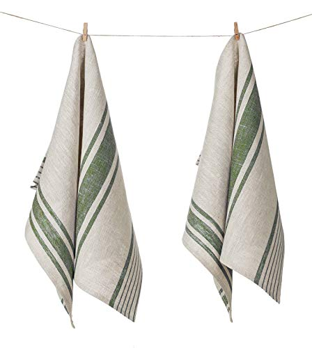 100% Pure Flax Linen Kitchen Tea Towel, Set of 2, 17 x 27 inchces, Natural Grey and Olive Green Striped